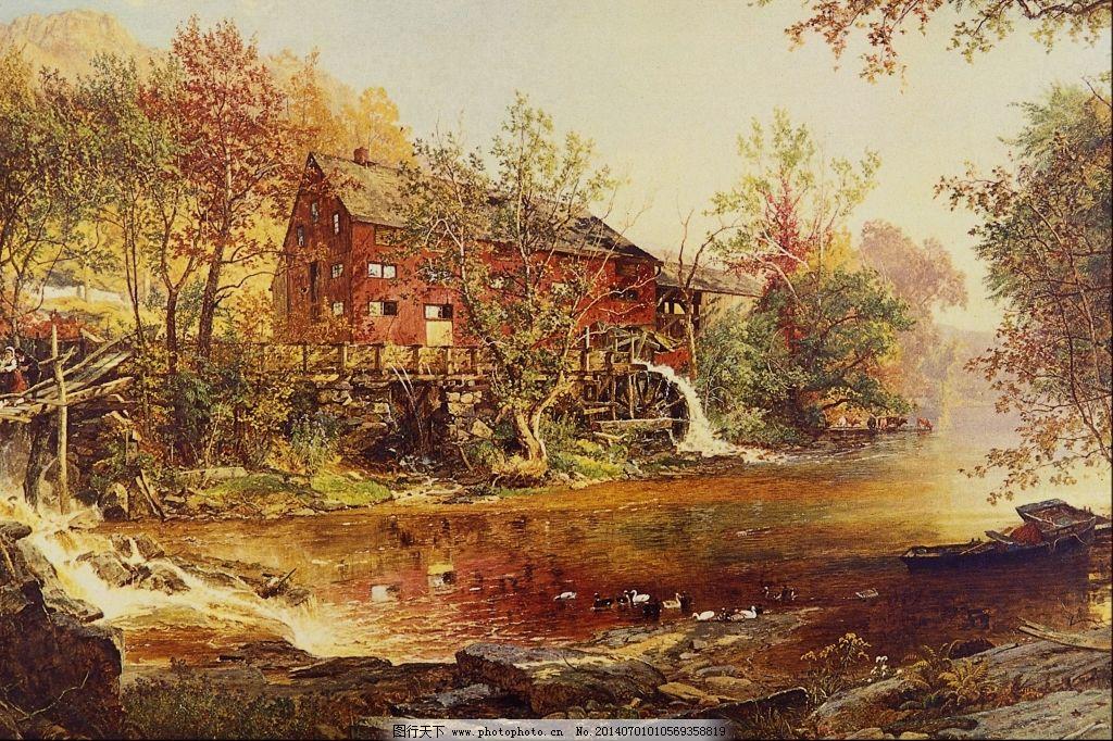 风景油画艺术 风景油画艺术免费下载 房子 河边 树木 装饰素材