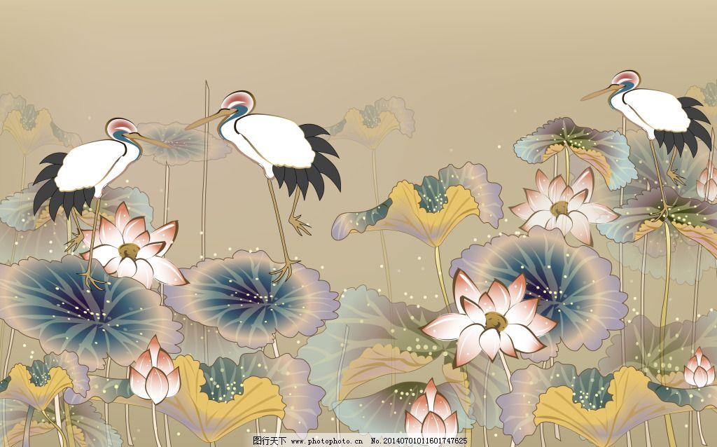 荷花仙鹤免费下载 背景墙 国画 荷花 矢量花 室内装饰 仙鹤 装饰画