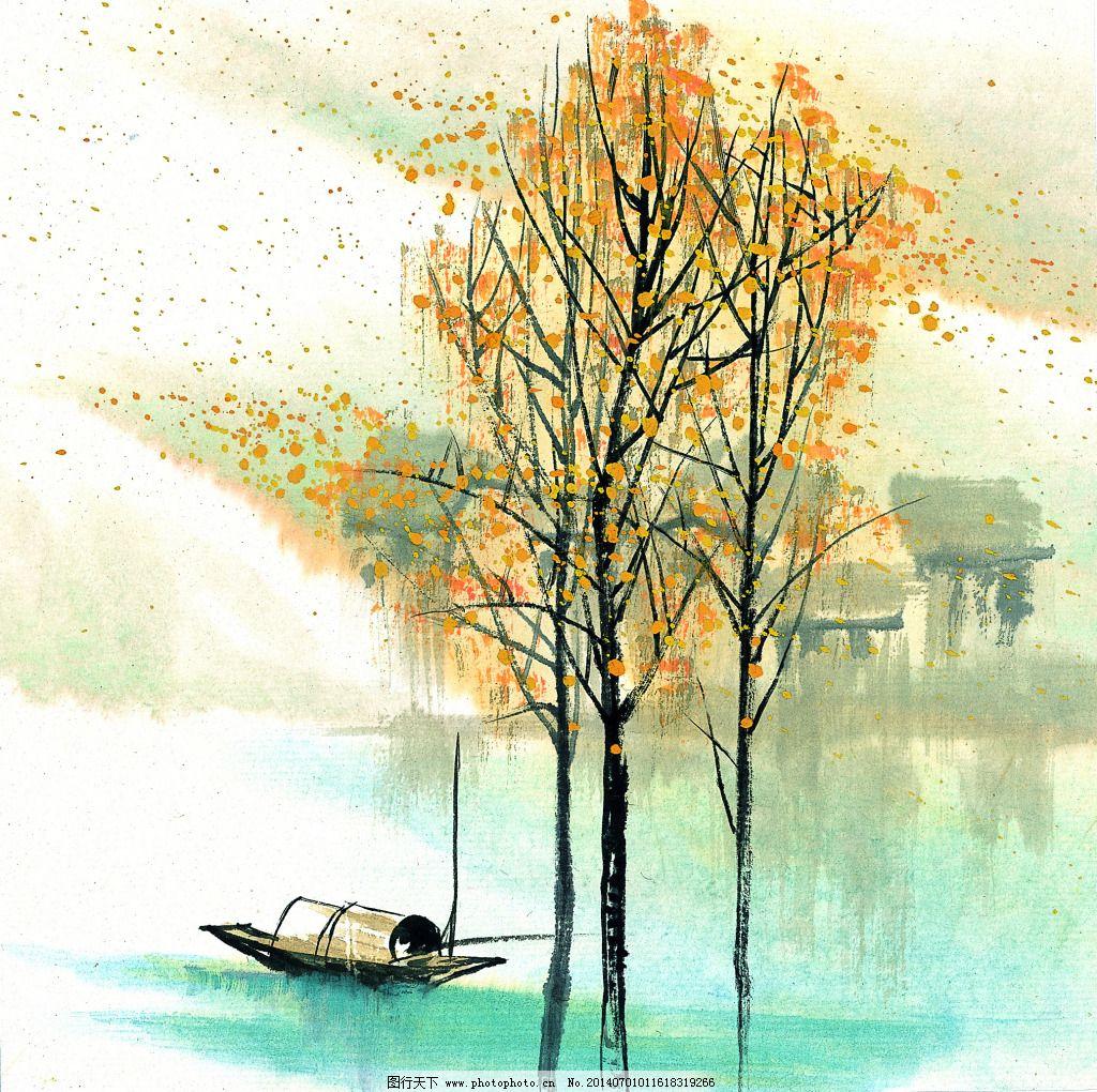 江南水乡免费下载 房子 河边 江南水乡 树木 小船 中国画 江南水乡