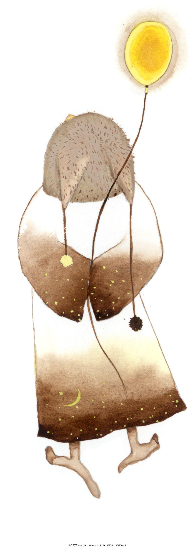 放飞气球 放飞气球免费下载 铅笔画 人物 月亮 家居装饰素材 室内装饰