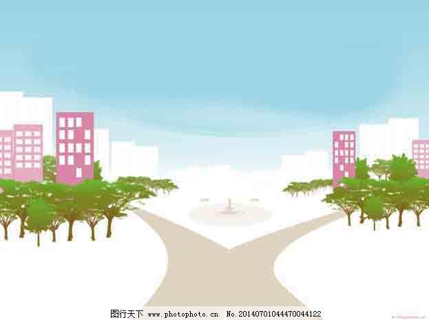 卡通城市ppt模板免费下载 楼房 马路 树木 马路 楼房 树木