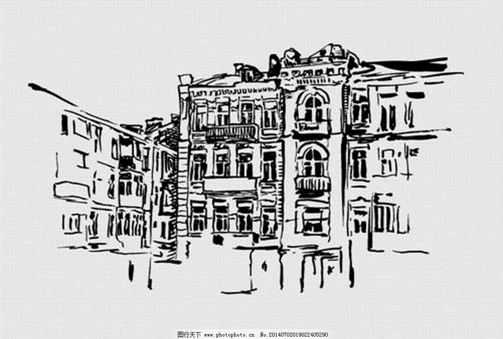 素描城市 铅笔画图片