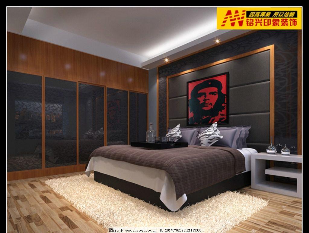 后现代卧室 装修效果图 主卧 床 地板 室内设计 环境设计 效果图作品