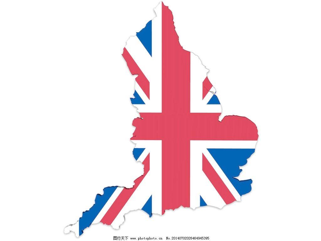 英国地图和英国国旗