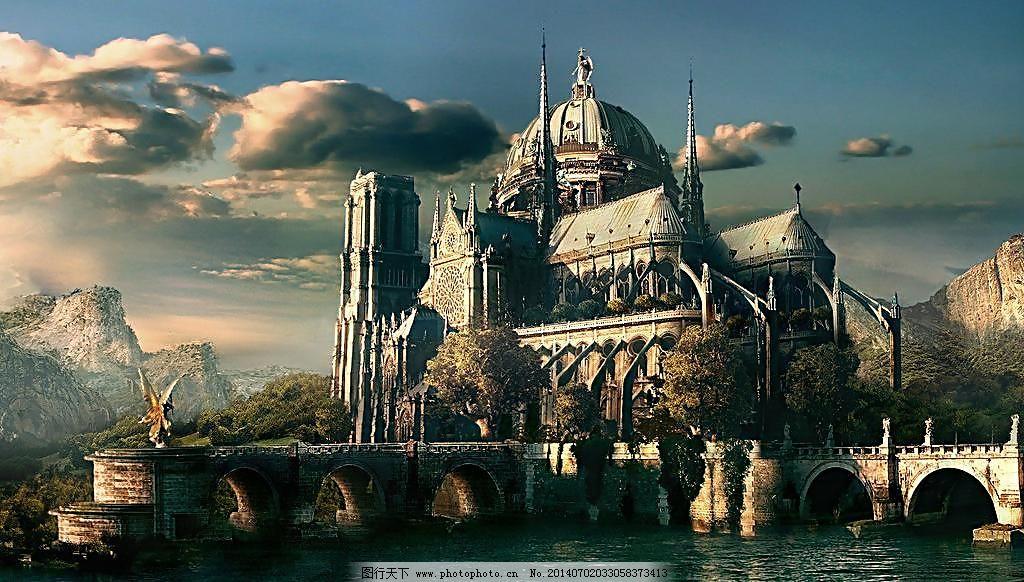 城堡 城堡图片免费下载 动漫动画 风景漫画 科幻 水面 乌云 乌云