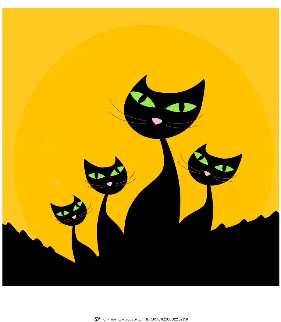 卡通动物插画免费下载 插画 动物 卡通 卡通 动物 插画 四只绿眼睛