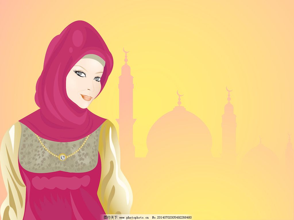 年轻的微笑美丽的穆斯林女孩无缝清真寺背景图片