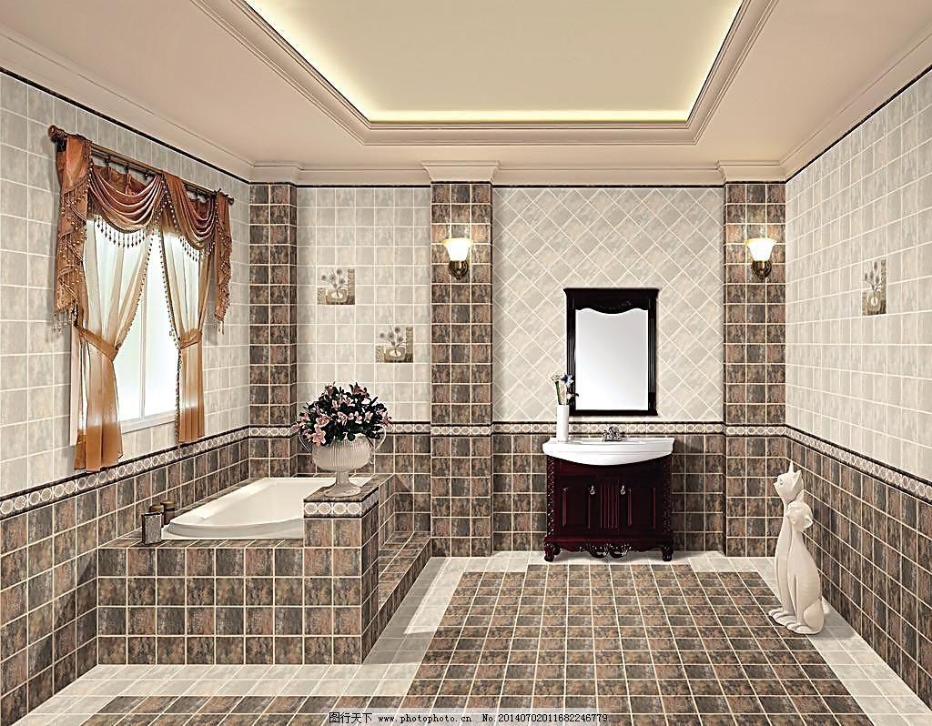 浴室效果图 窗帘 瓷砖 灯 仿古砖效果图 镜子 饰品 室内效果图