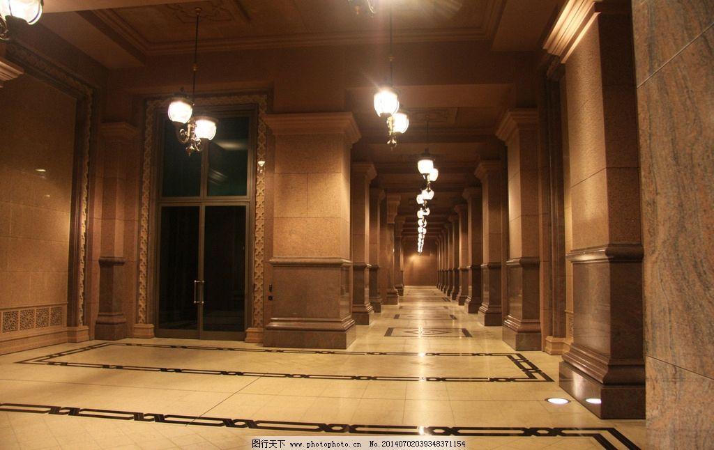 酒店大厅 欧式酒店 欧式会所 吊灯 欧式吊灯 大理石拼花 走廊 过道图片