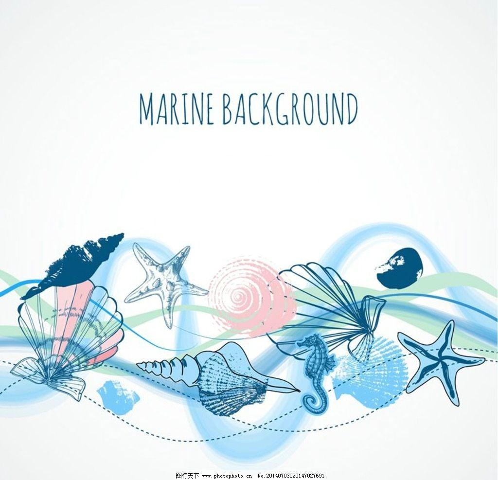 海洋动物设计图片,海螺 海星 贝壳 海洋图标 海洋标志