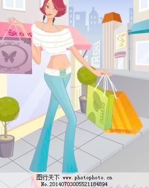 人物 购物/韩国美女购物人物矢量图091