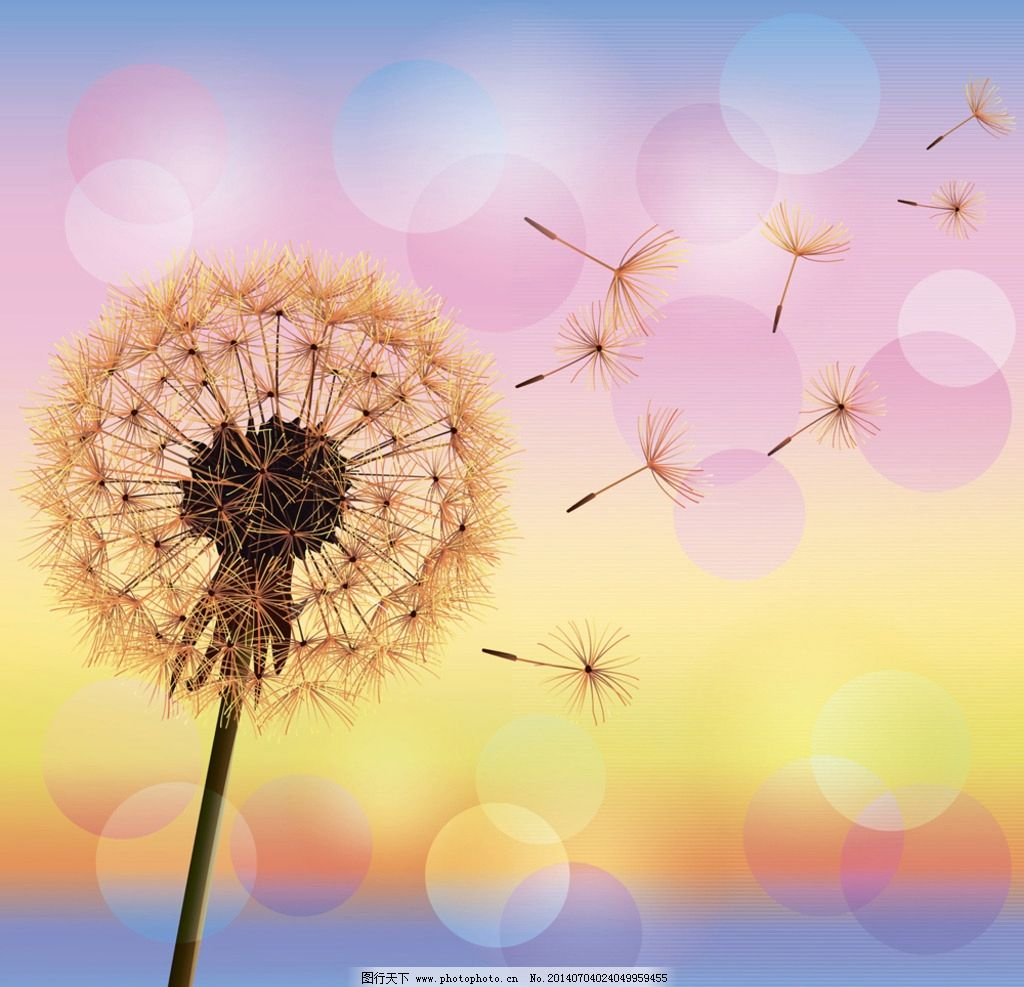 美丽夏天风景 夏天 蓝天 白云 蒲公英 花草 梦幻光斑 自然风光 矢量图片