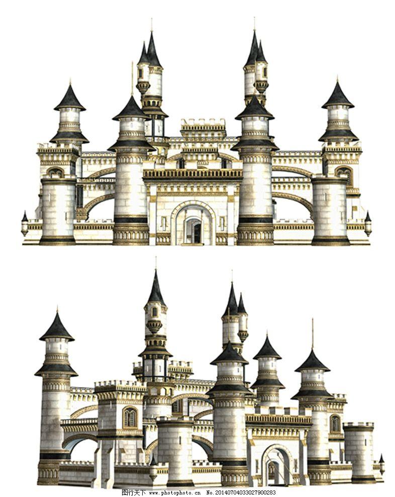 白色欧式城堡背景