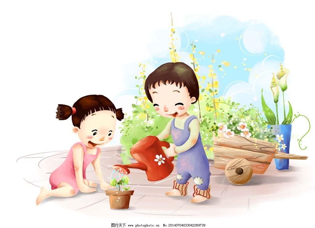 韩国手绘卡通 韩国手绘卡通免费下载 风景 花卉 漫画 人物 小朋友