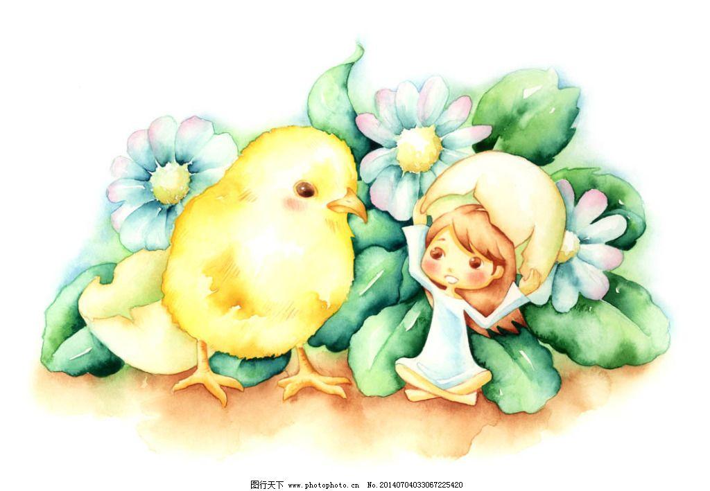 韩国手绘动物 小鸡