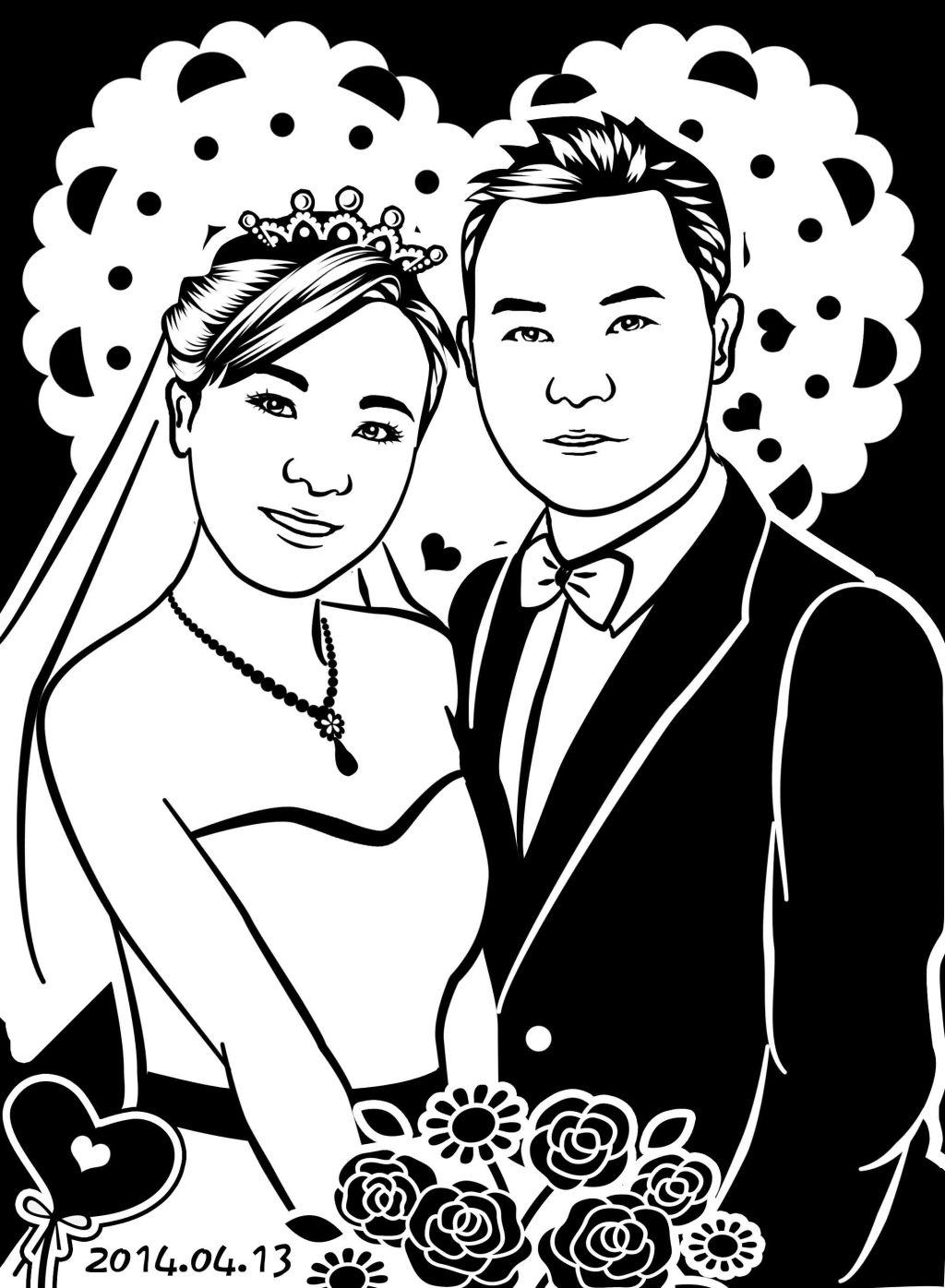 结婚照旗袍古典黑白简笔画
