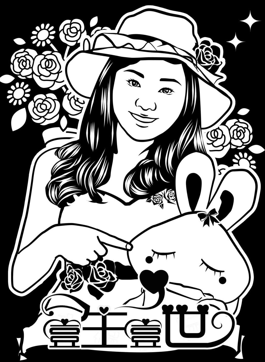 美女艺术照黑白简笔画免费下载 爱情 黑白 花朵 绘画 美女 美术 情侣