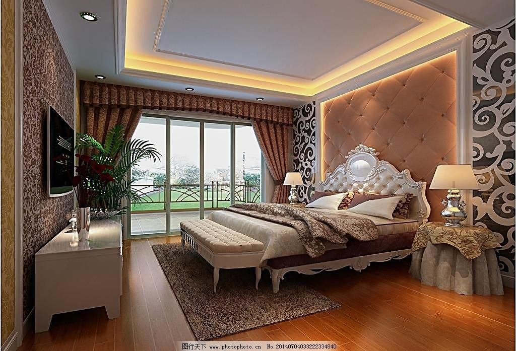 卧室效果图 卧室效果图图片免费下载 床 环境设计 米黄 欧式 奢华