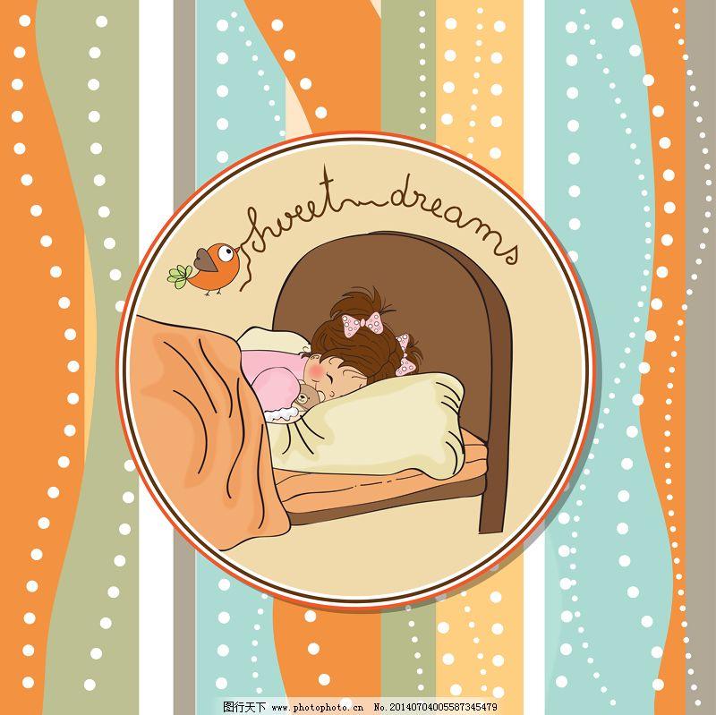 鸟 女孩 背景 床 鸟 边境 卡 卡通 孩子 可爱的 女孩 手绘 插图 枕头
