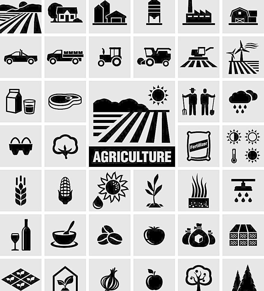 农业生产图标 农场 土地 汽车 矢量图标 图标 标志 标签 logo 小图标图片
