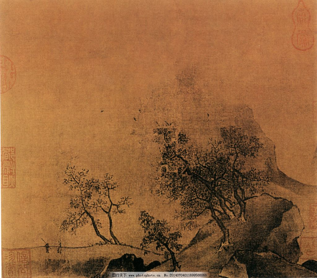 秋山烟霭图免费下载 国画 绘画 树木 岩石 秋山烟霭图 国画 绘画 树木