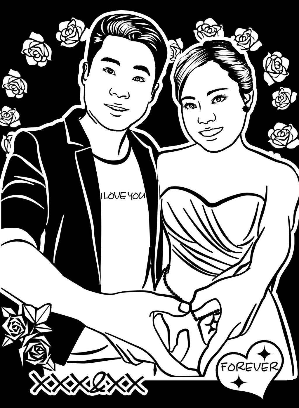 简笔画 黑白/结婚照黑白简笔画心形手势