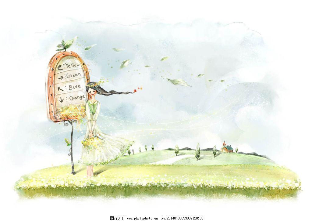 梦幻背景 梦幻背景免费下载 韩国手绘 花卉 卡通 可爱 漫画 树叶图片