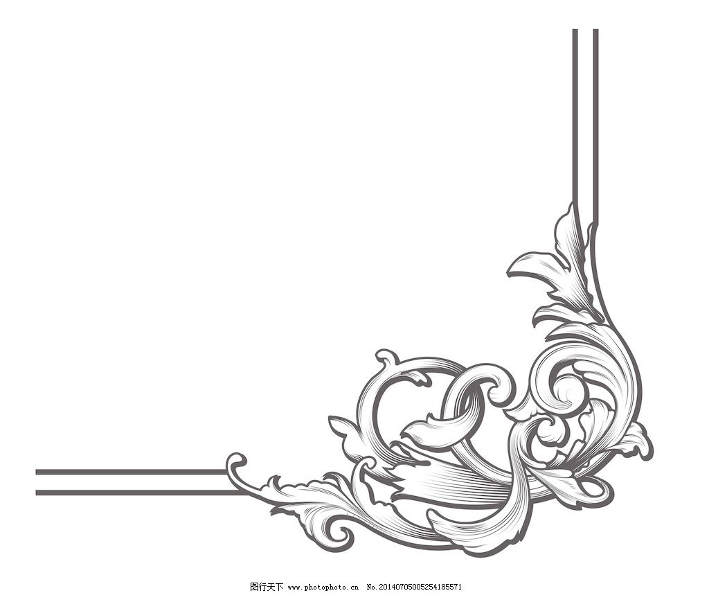 巴洛克风格的花卉元素矢量插图