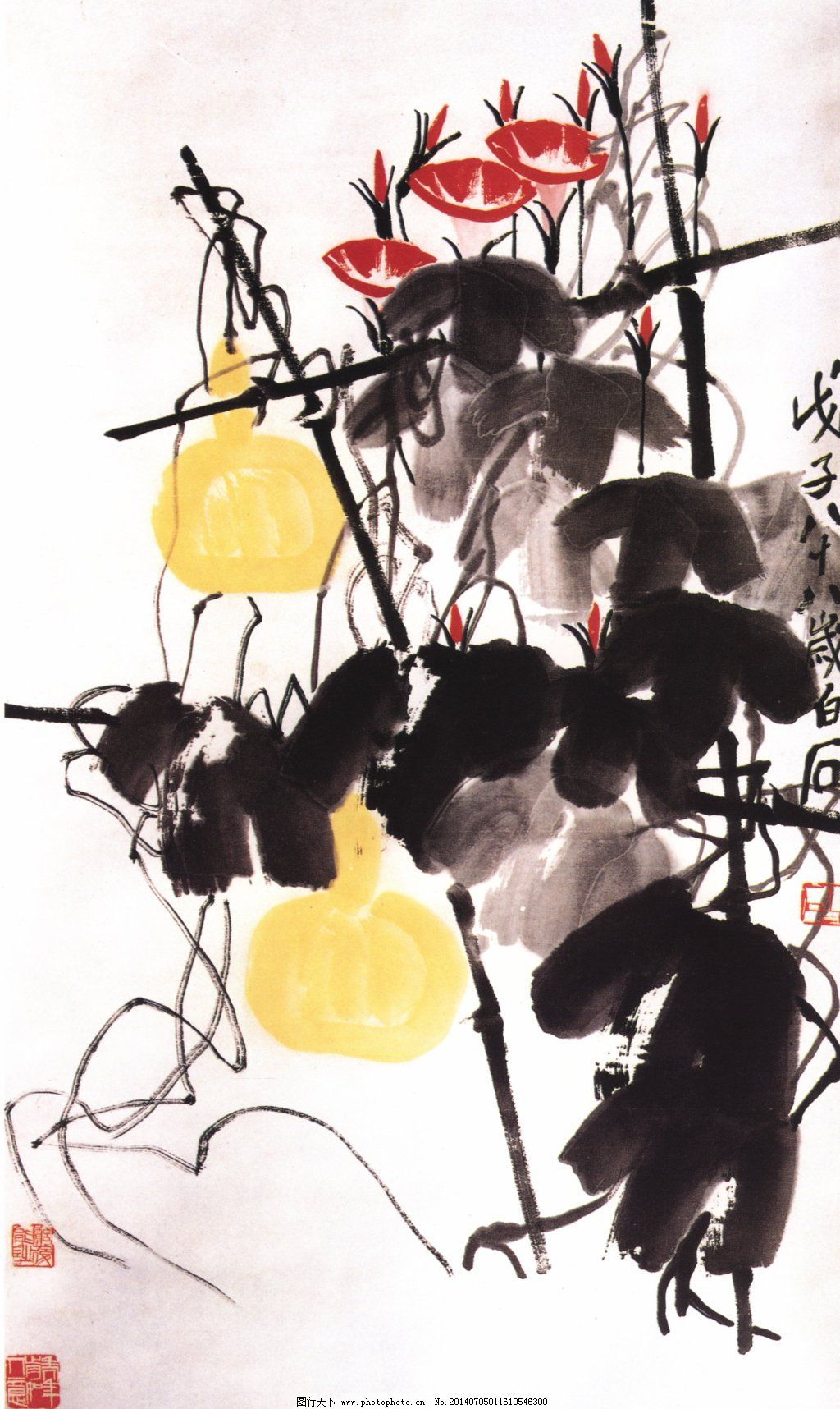 风景 古典 古画 国画 绘画 山水 山水画 中国画 葫芦架 中国画 国画