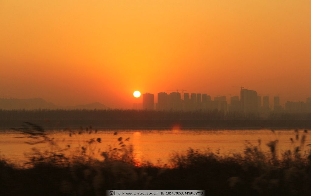 落日 长沙 河西 建筑工地 晚霞 山水风景 自然景观 摄影 72dpi jpg