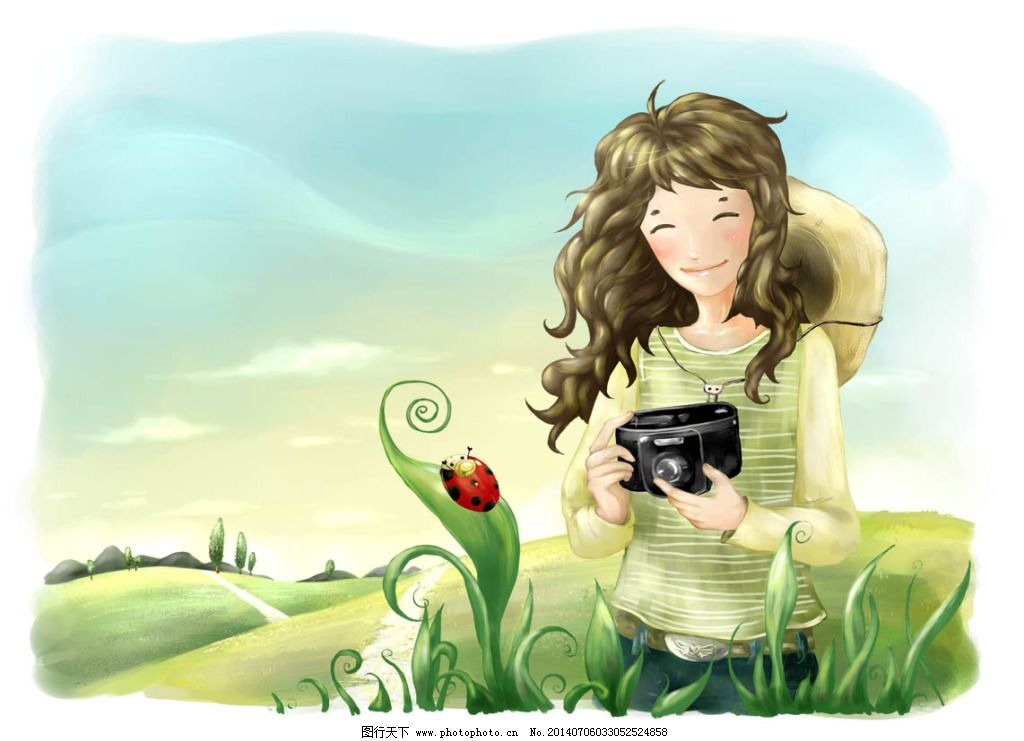 psd源文件 卡通 漫画 梦幻 手绘 源文件 拿着照相机的女孩 韩国素材库