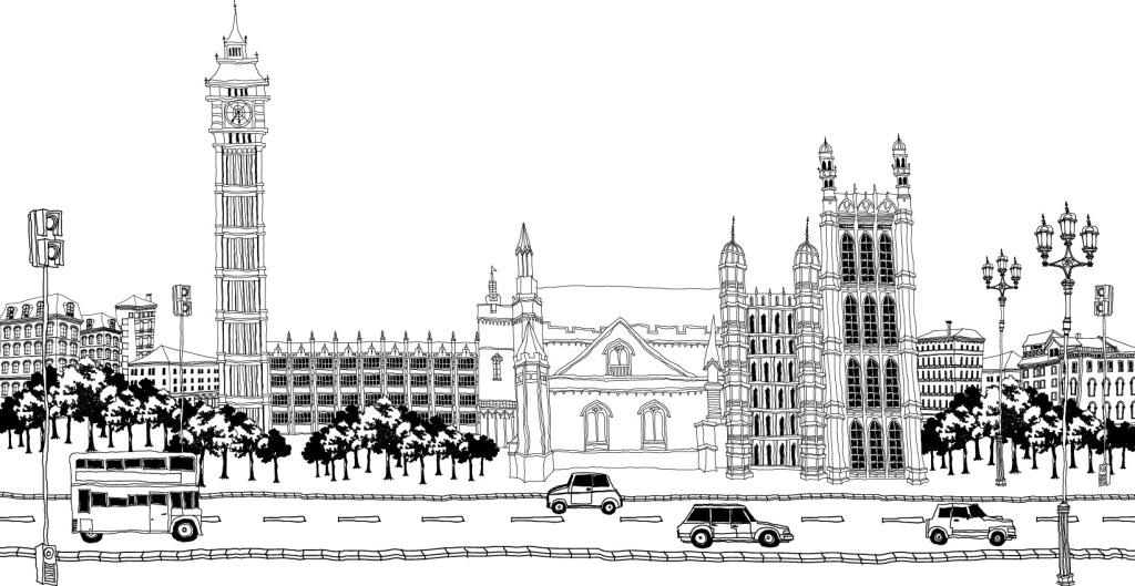 黑白手绘城市