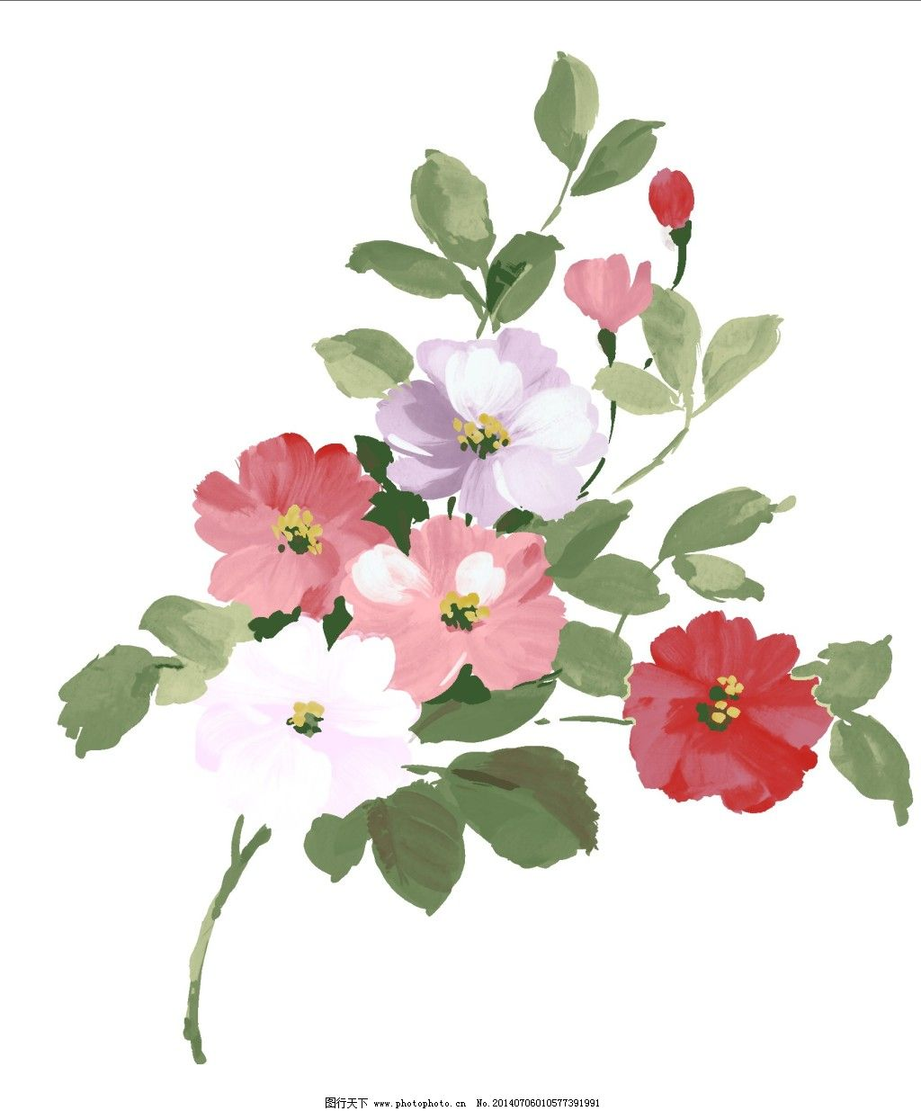 手绘图 手绘素材 多色花花卉 多色花psd分层素材 家居装饰素材 油画