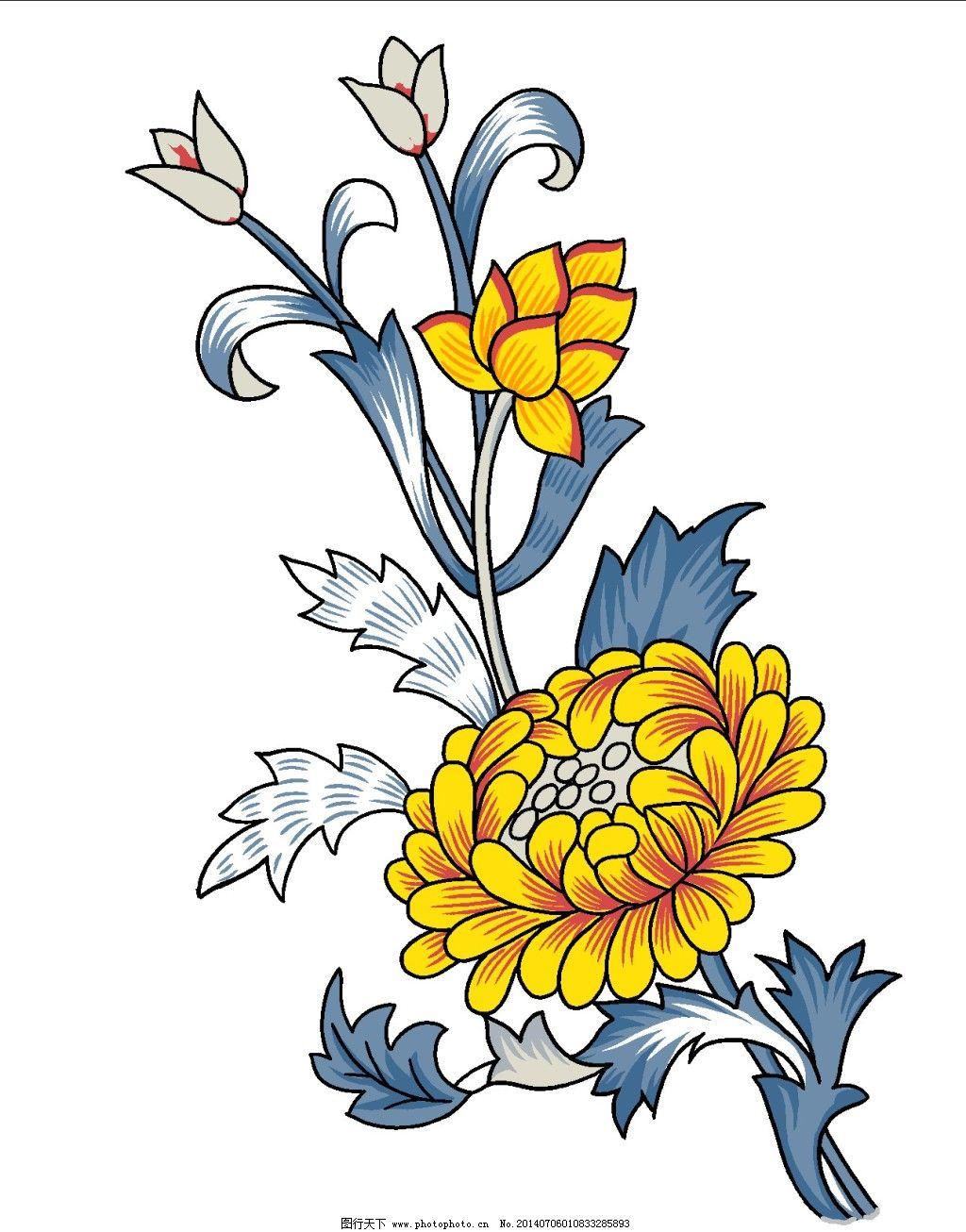 手绘图 菊花 手绘图 手绘素材