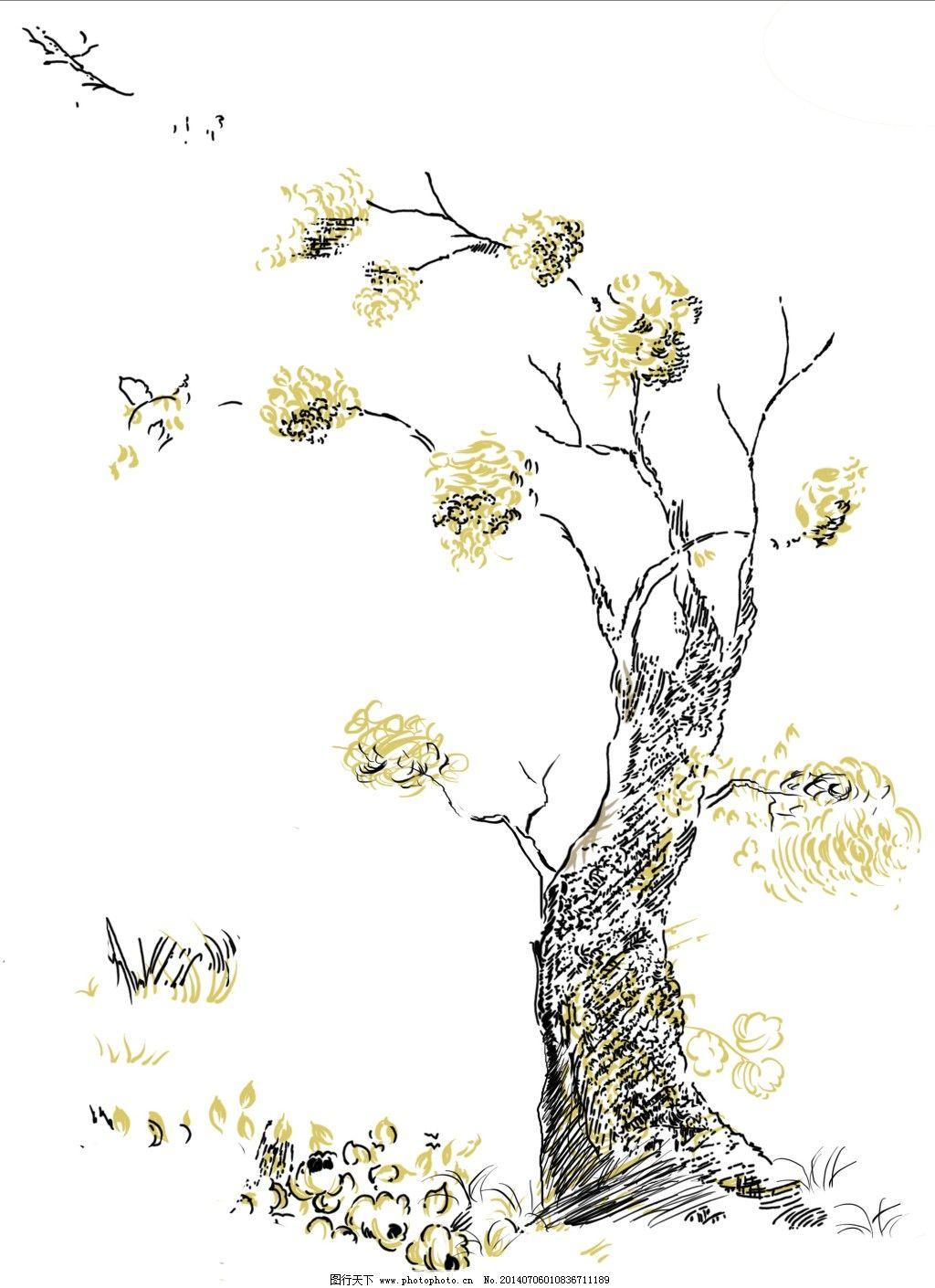 手绘图 枯树 手绘图 手绘素材 枯树手绘插画 枯树psd分层素材 装饰