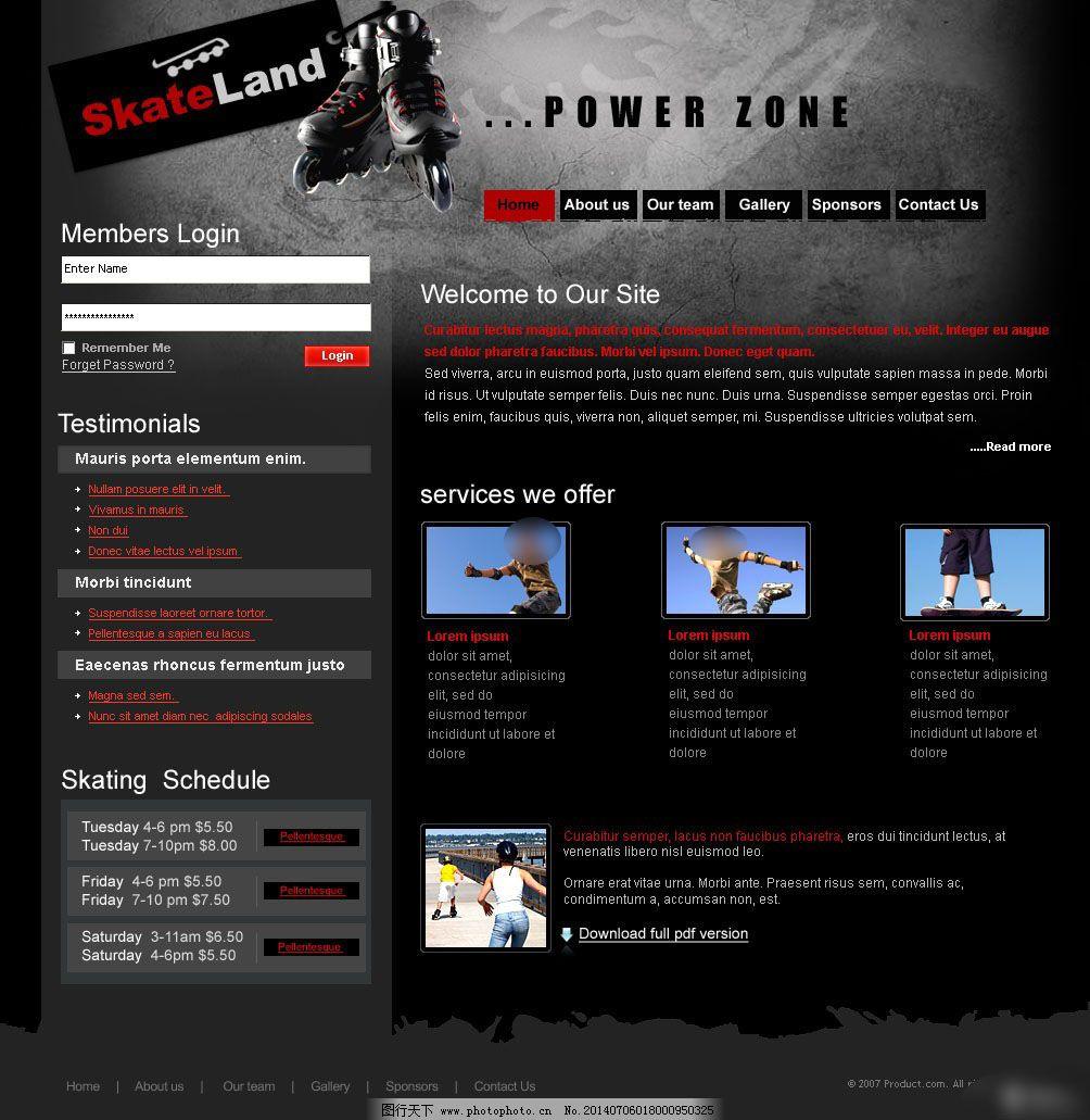 国外黑色网页模板设计图片