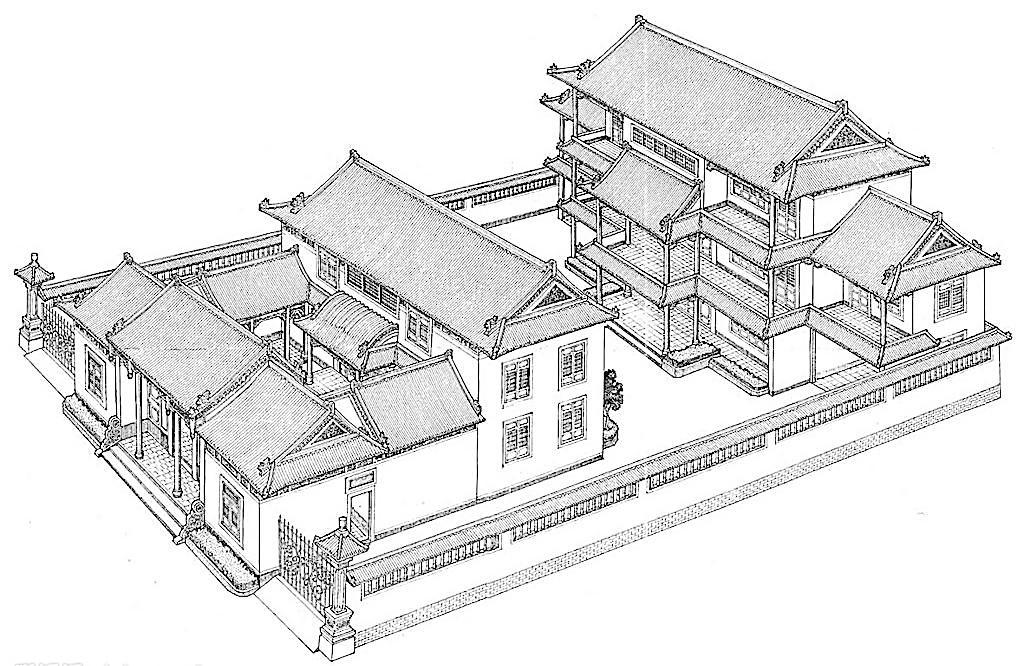 手绘庙宇图片