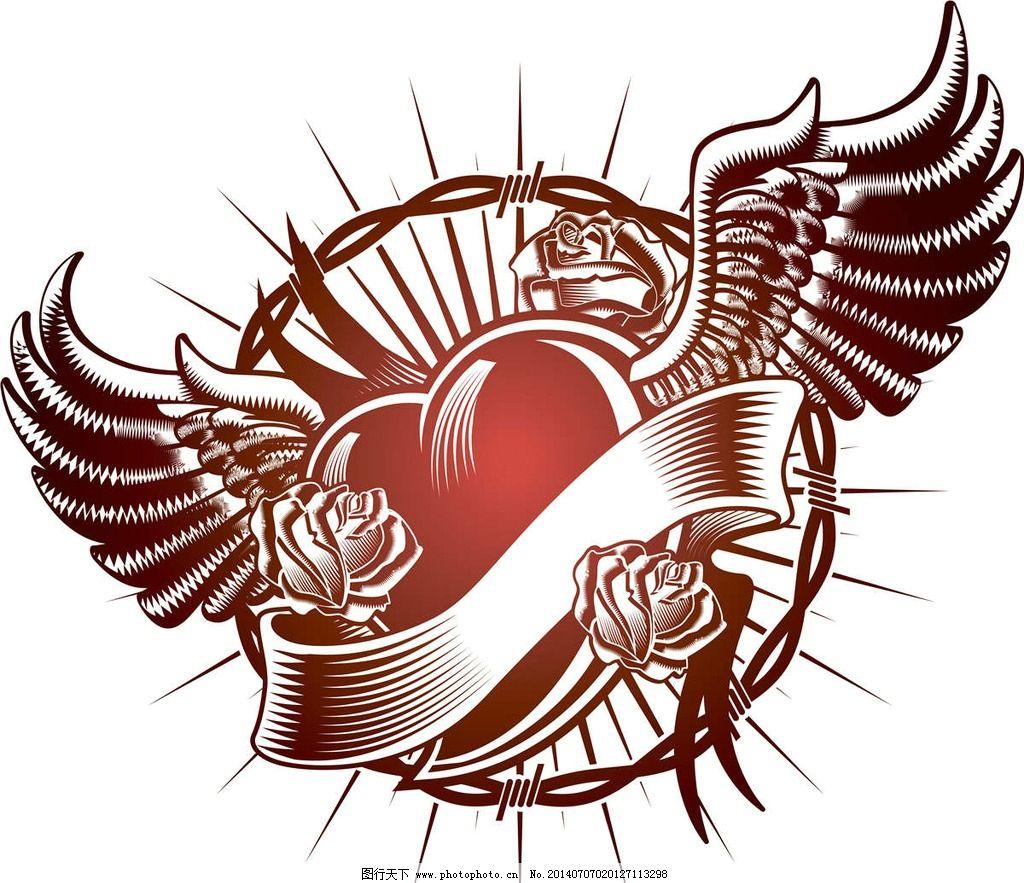 心形纹身t恤图案 红心 心形图案 欧美花纹 欧式花纹 纹身图案