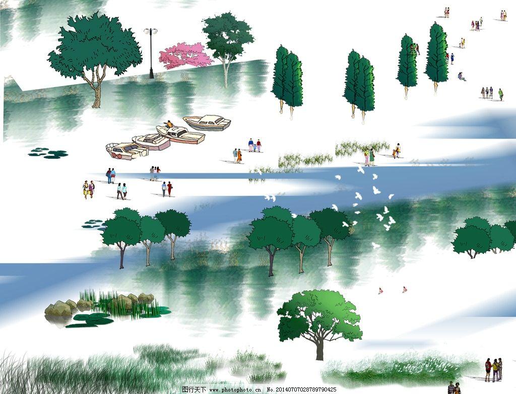 手绘倒影 手绘湖边倒影 手绘柳树 手绘船 手绘芦苇 草 人物 园林设计
