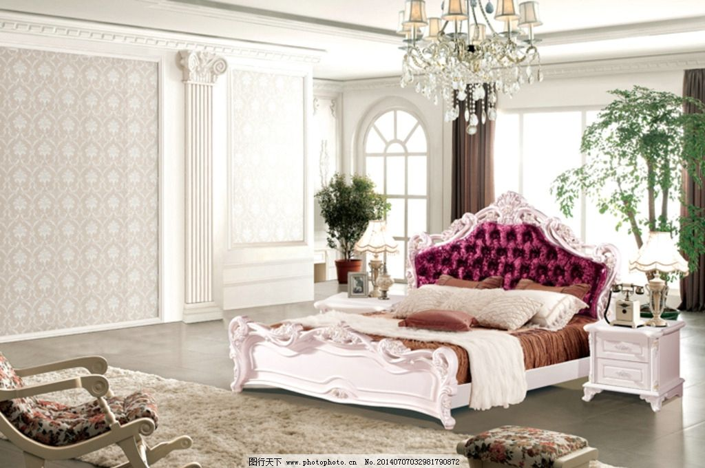 白色床 白色衣柜 白色梳妆台 板式家具 白油家具 白油套房 欧式床