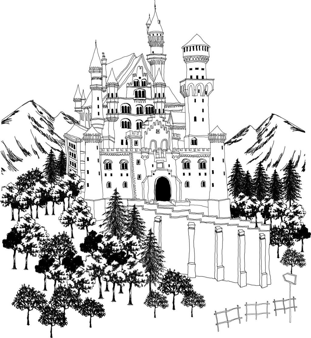 欧式风格城堡门色彩简笔画