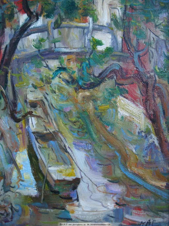 木舟 木舟免费下载 高清风景油画 油画素材下载 木舟油画素材 装饰