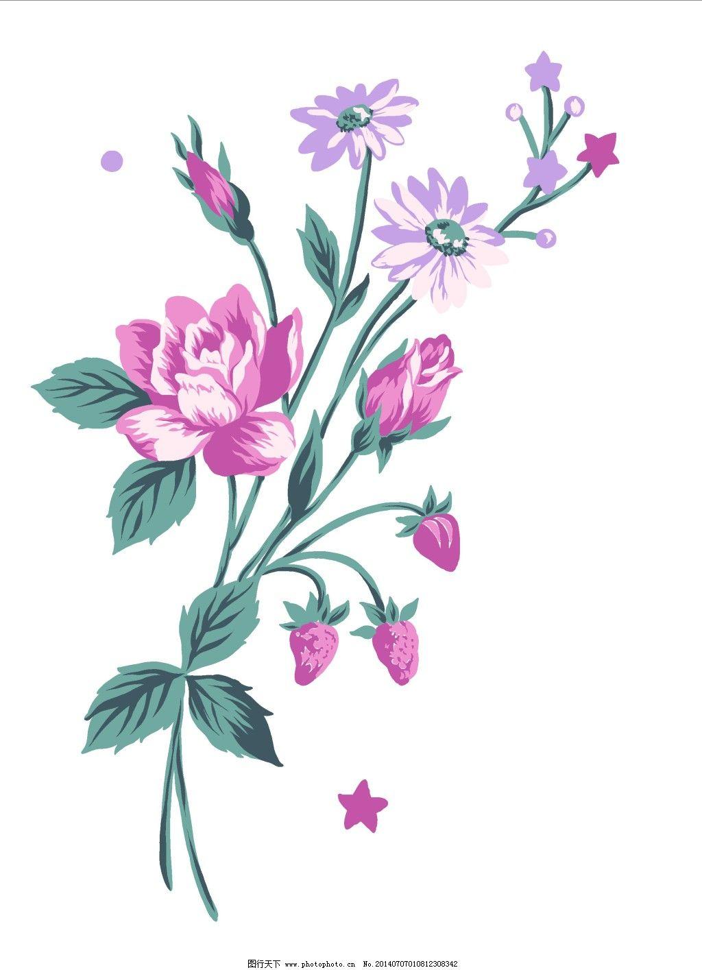 手绘图 唯美花簇