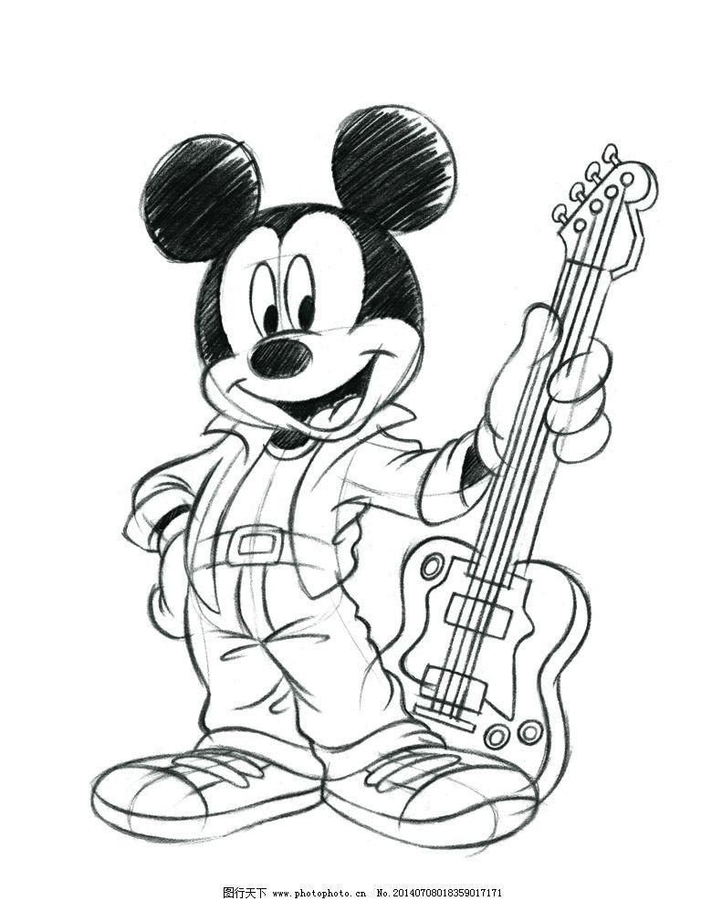 米奇 迪士尼 米老鼠 吉他 经典 动漫人物 动漫动画 设计 500dpi psd