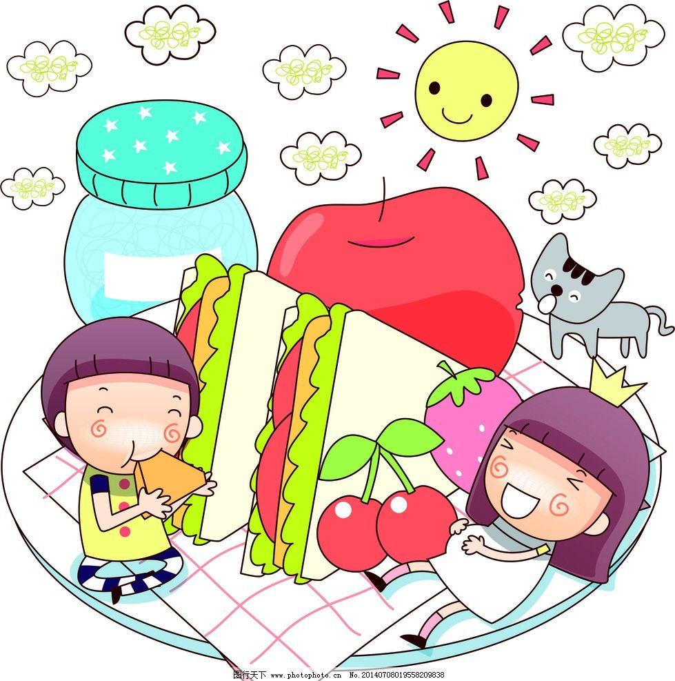 卡通娃娃野餐 三明治 晴天 卡通人物图片