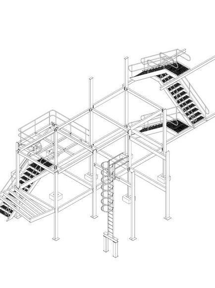 小的笼型钢框架 小的笼型钢框架免费下载 仓库 钢结构 梯子 梯子