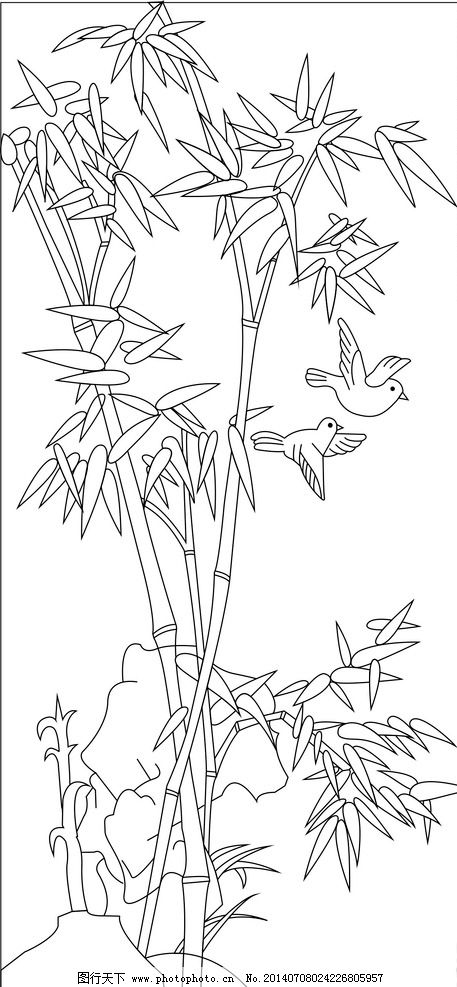 竹子立面手绘景观
