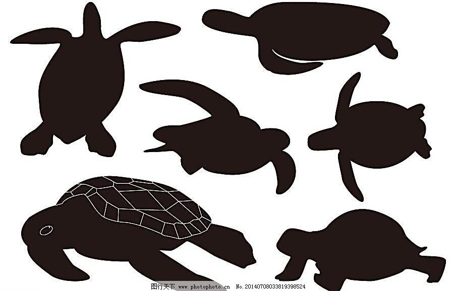 海洋动物剪影 海洋鱼类 海龟简笔画 水底生物 爬行动物 两栖动物 野生