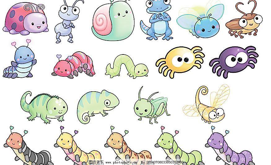 300dpi psd psd分层素材 卡通 卡通昆虫 昆虫 蚂蚁 蜗牛 蜥蜴 萤火虫