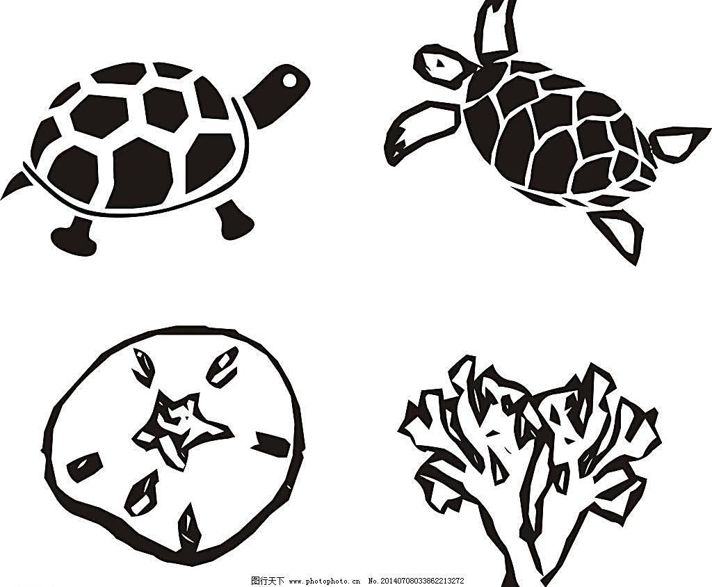 背景素材 背景元素 插画 插画设计 动画背景 动漫 动物剪影 乌龟 珊瑚